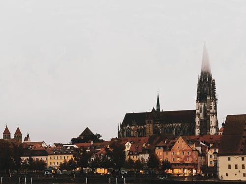 Old city district with Gothic castle