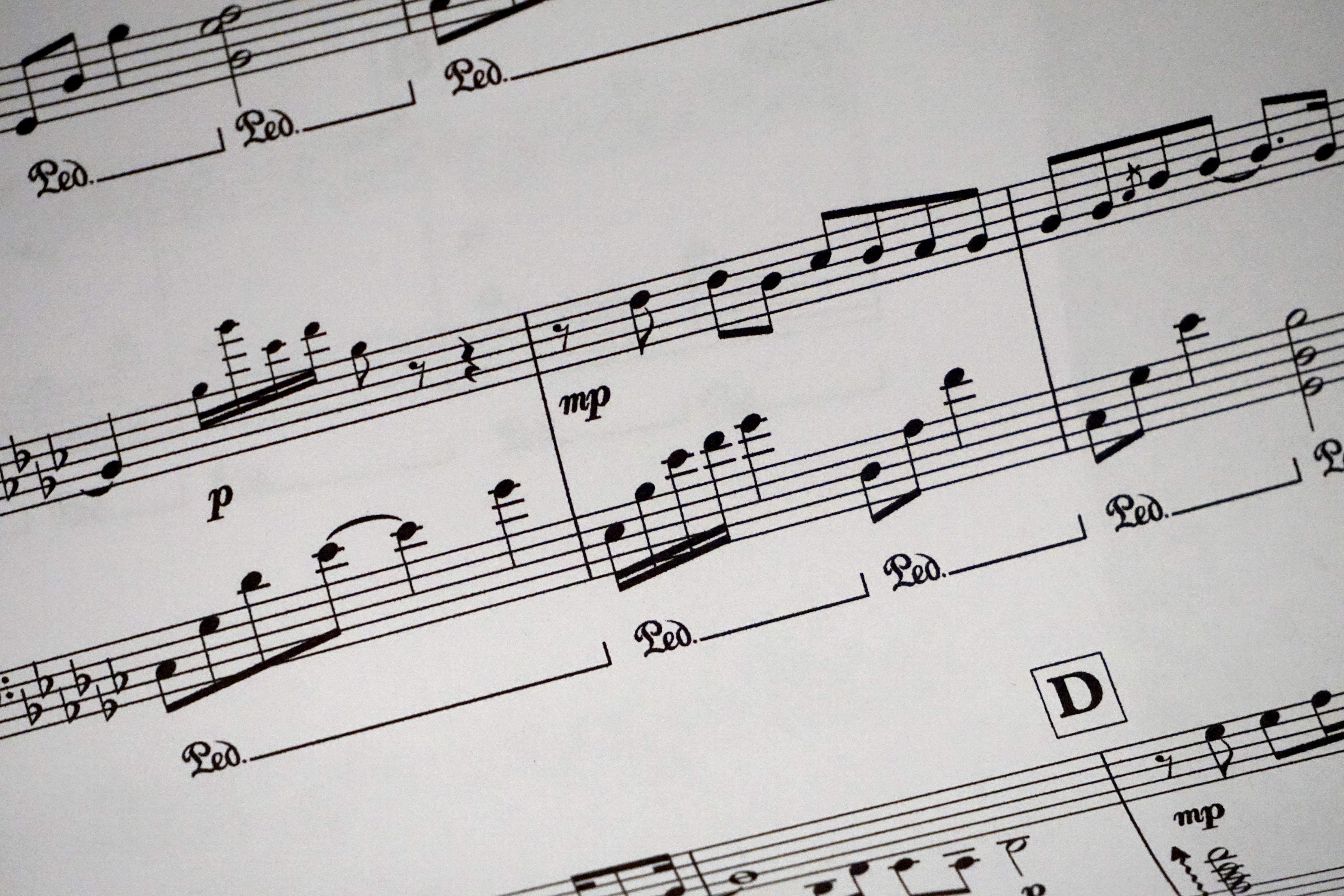 Sheet Music Showing Musical Notes Free Stock Photo