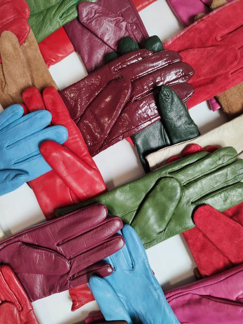 Red Blue and White Leather Gloves