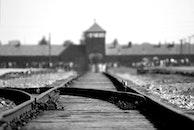 black-and-white, rails, railroad