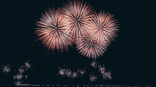 Sparkling fireworks in night sky