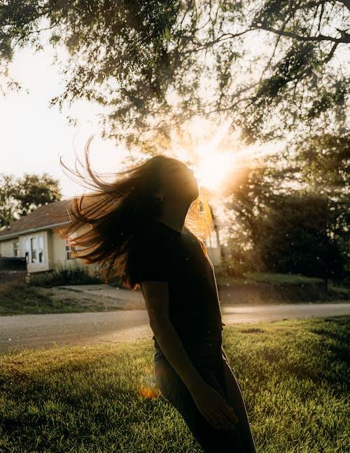 Free stock photo of against the light, girl, golden hour, golden sunset