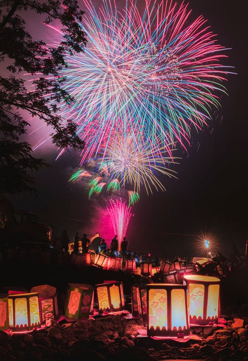 Vibrant fireworks and bright lanterns in park