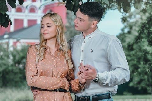 Romantic couple bonding in green park