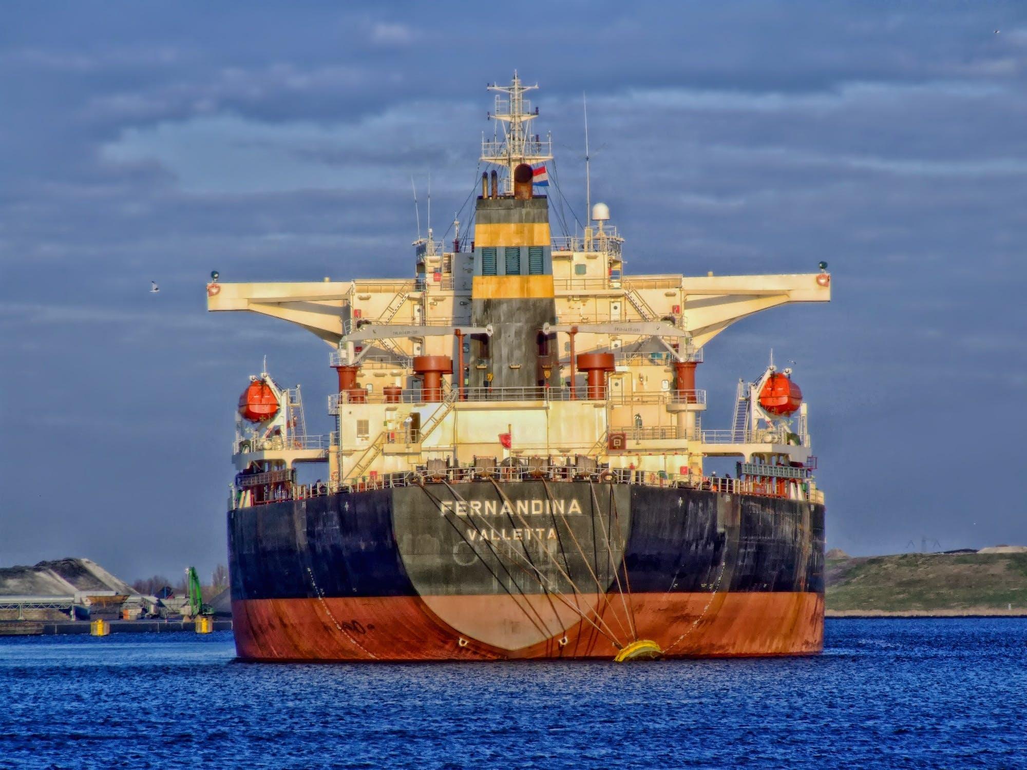 Blue and White Fernandina Ship on Ocean