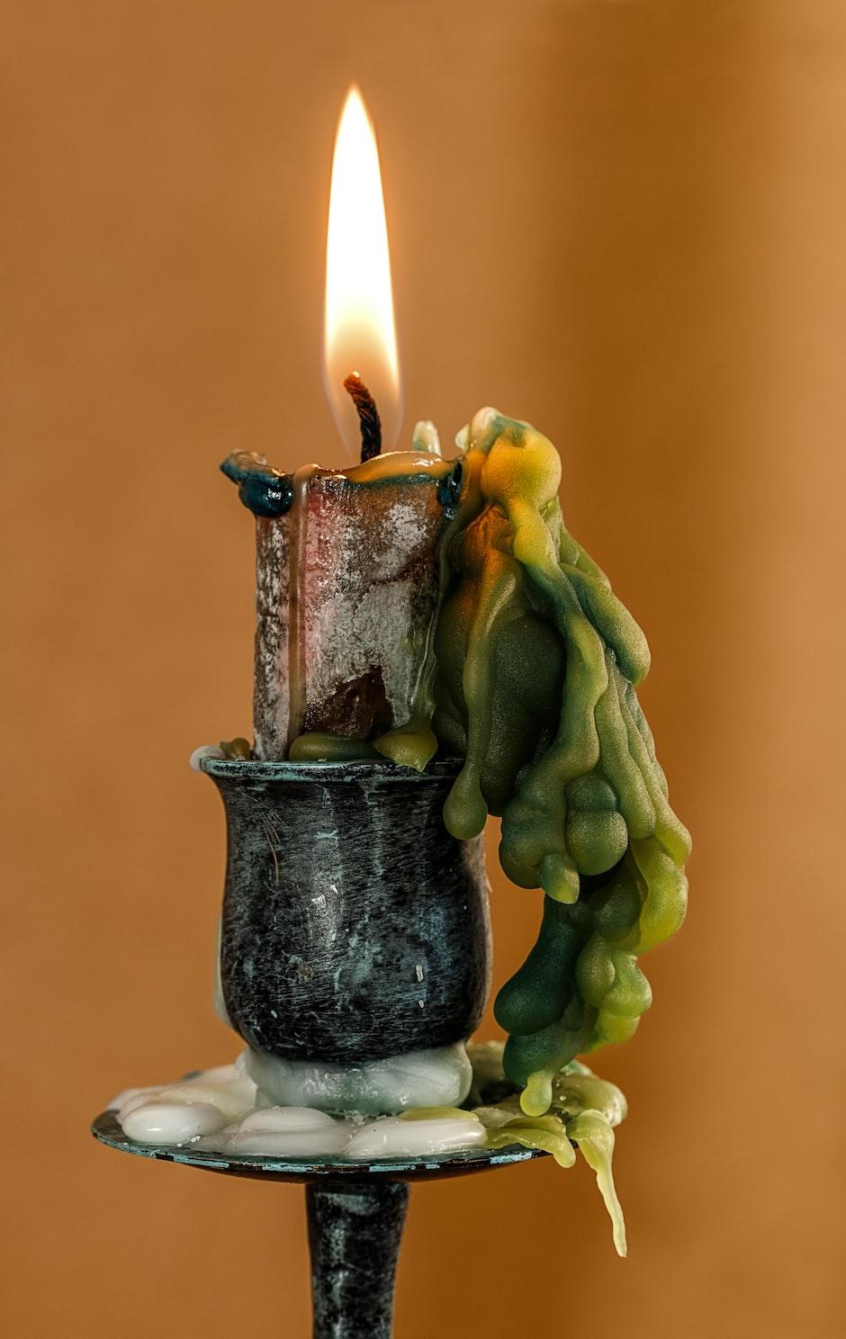 burning, candle, candle wax
