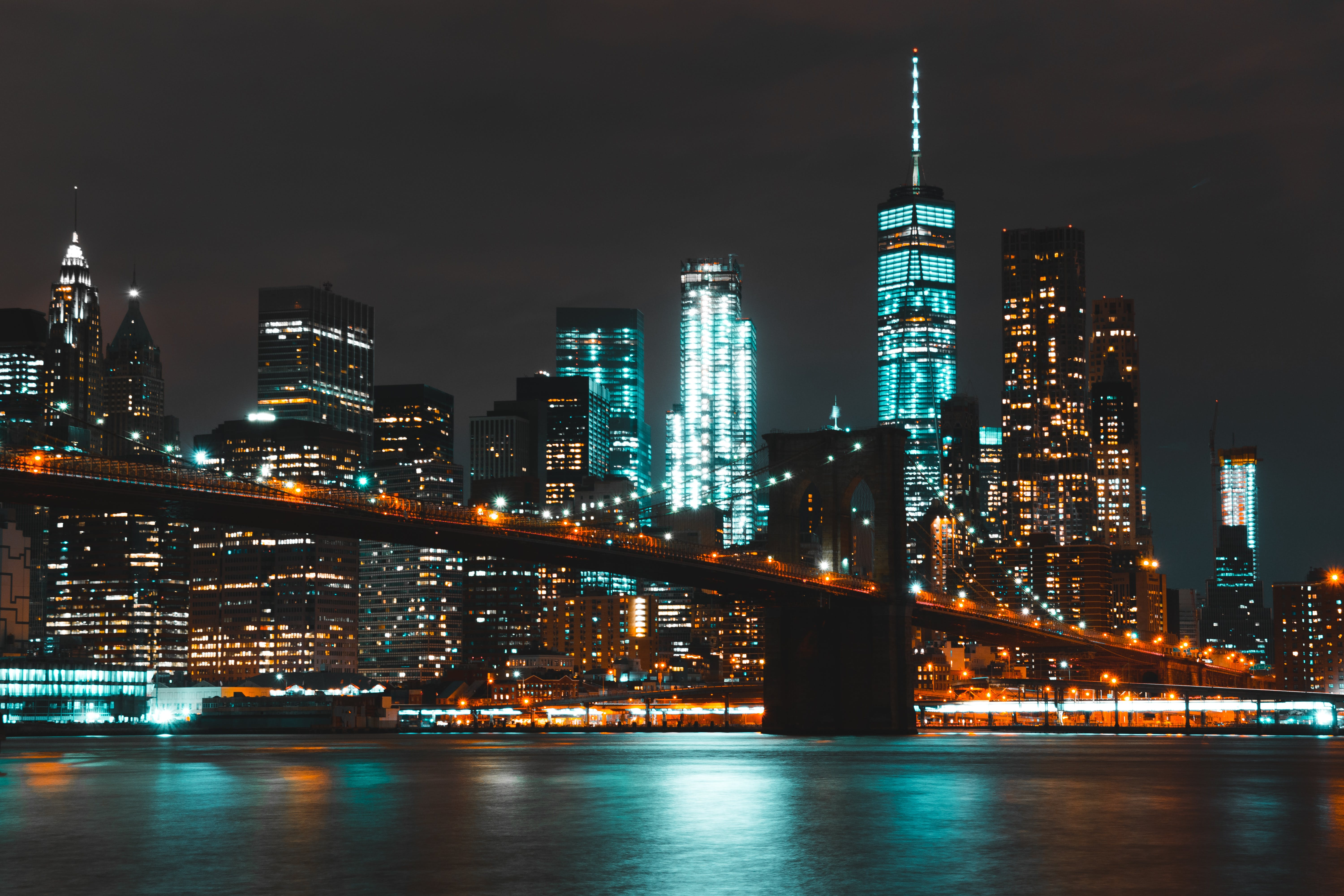 Lighted Brooklyn Bridge during Nighttime