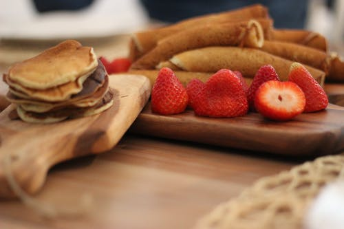 Strawberry Fruit on Brown Wooden Board