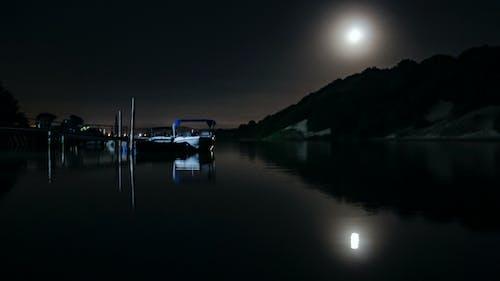 Free stock photo of boat, moon, moonlight