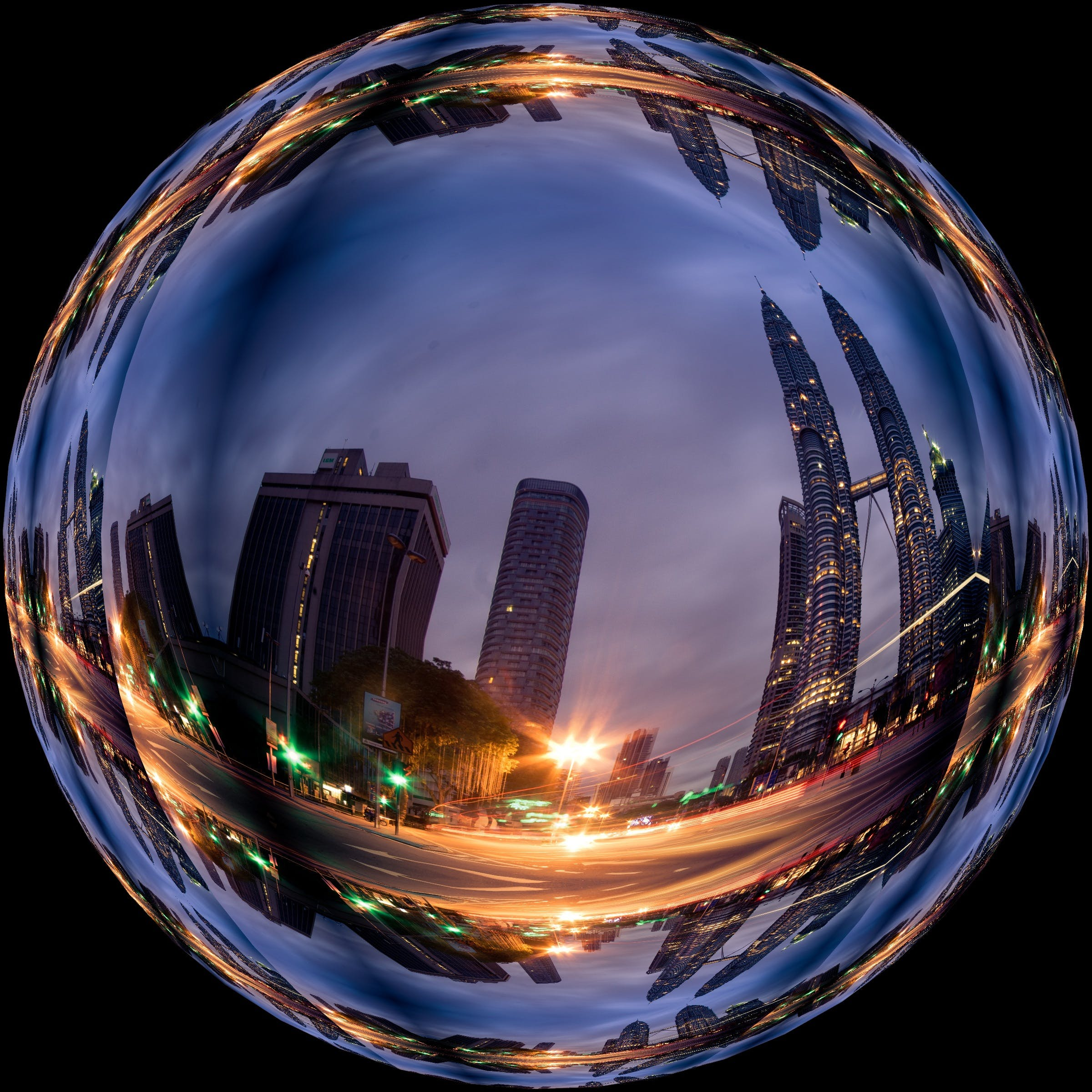 Image of Buildings on a Blue Crystal Ball