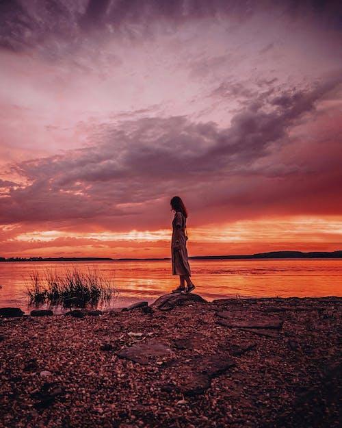 Ingyenes stockfotó arany naplemente, emberek, este, folyó témában