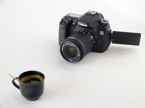 カップ, カメラ, キヤノン, コーヒーの無料の写真素材