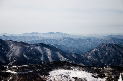 Mountainous terrain with covered with ice