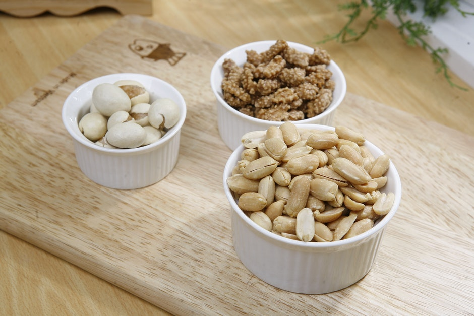 Brown Nuts on White Ceramic Bowl