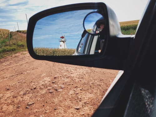 Free stock photo of farm, lighthouse, rear view mirror