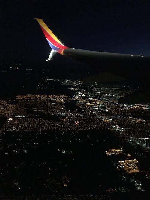 Free stock photo of city, night, plane
