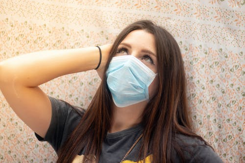 Free stock photo of brunette, face, facemask, girl