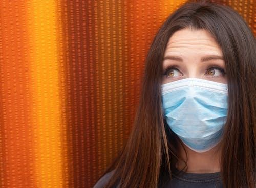 Free stock photo of brunette, copyspace, face, facemask