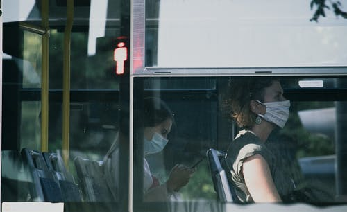 Free stock photo of bus, face, facemask, light