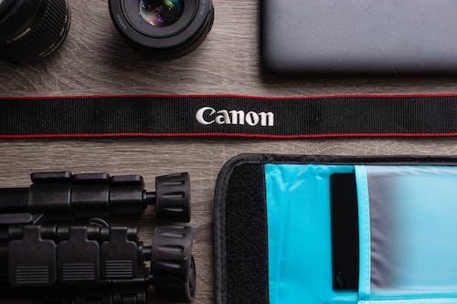 Free stock photo of canon, equipment, flat, lay