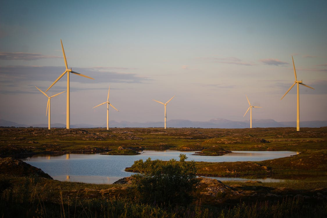 White Wind Turbines on Green Grass Field Near Body of Water