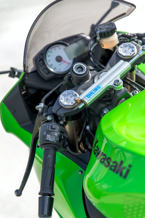 Green and Black Motorcycle Engine
