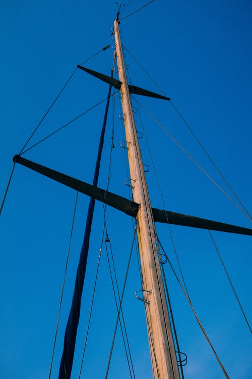 Mast of sailing ship in nature