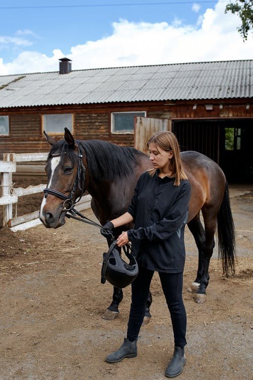 Woman with horse in paddock near stable