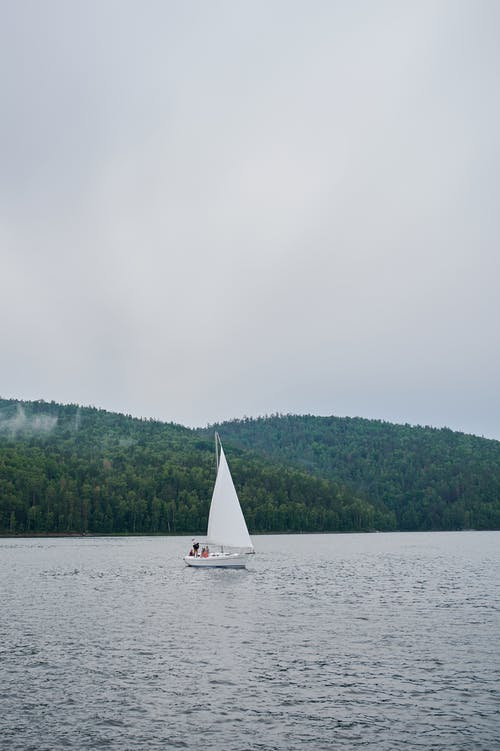 Picturesque view of green forest on hills and calm rippling sea with white sail on boat