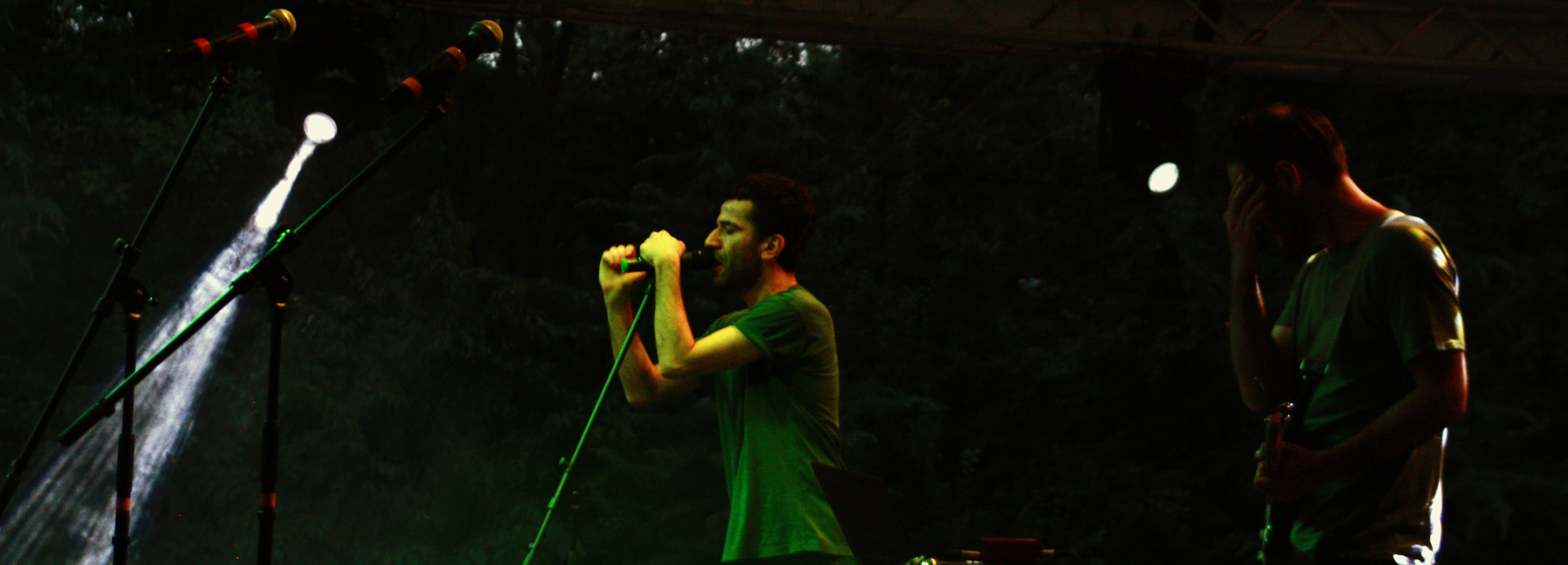 Man Holding Microphone on Stage