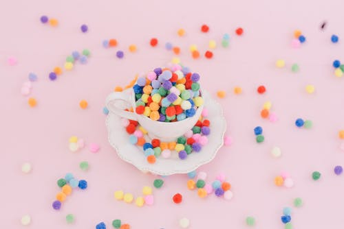 Colorful Beads on a Tea Cup