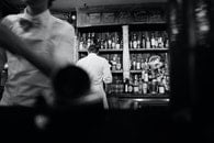 black-and-white, alcohol, bar