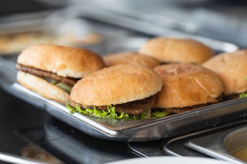 Burger on Stainless Steel Tray