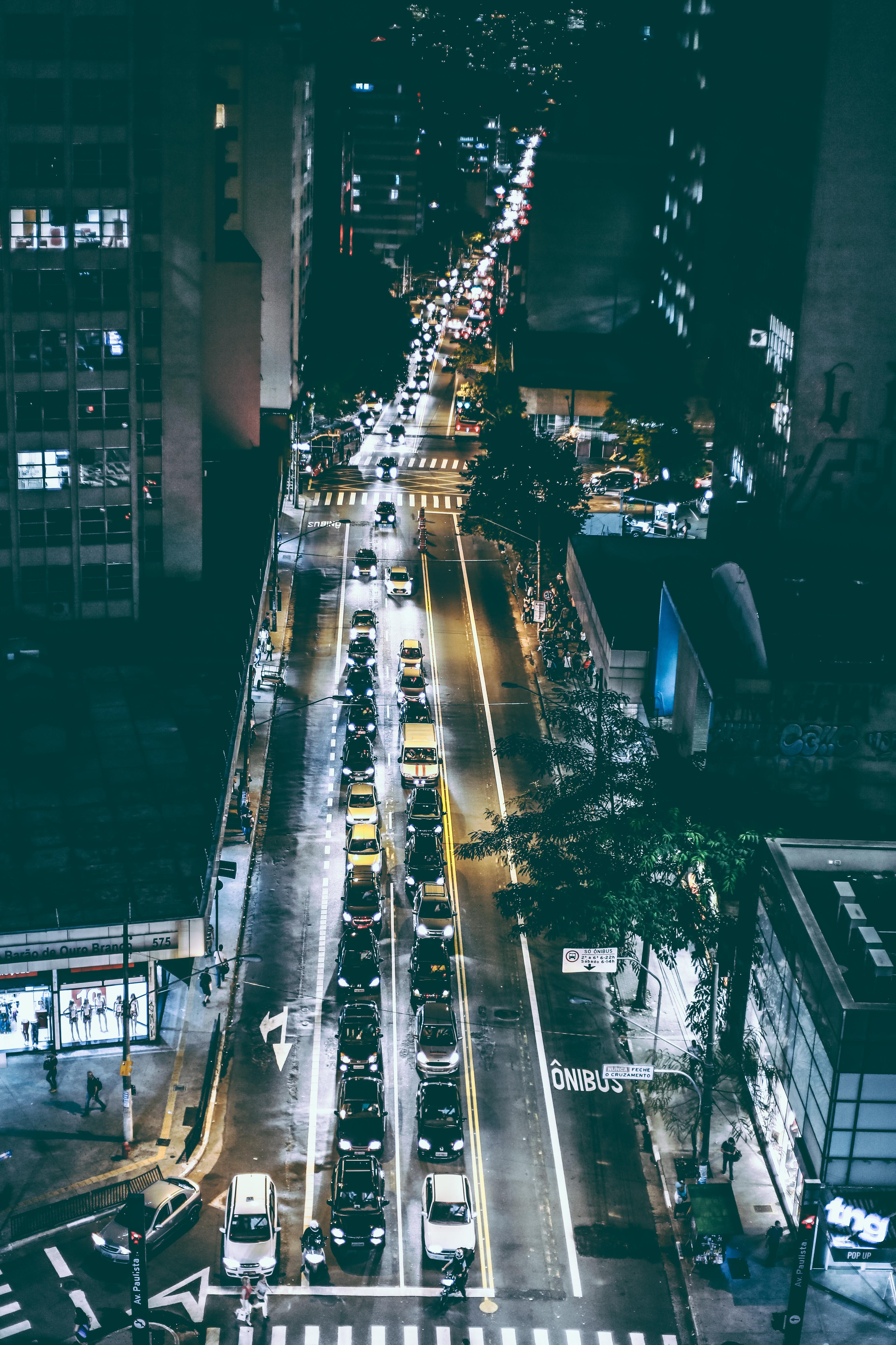 Cars on Black Asphalt Road during Nighttime