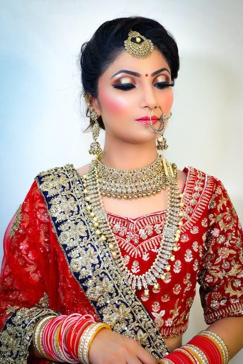 Indian women in traditional wedding sari