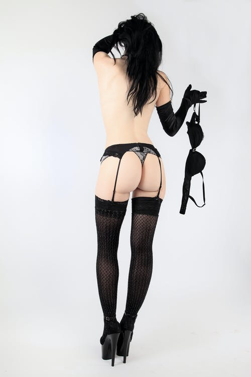 Woman in Black Stockings and Black Stockings