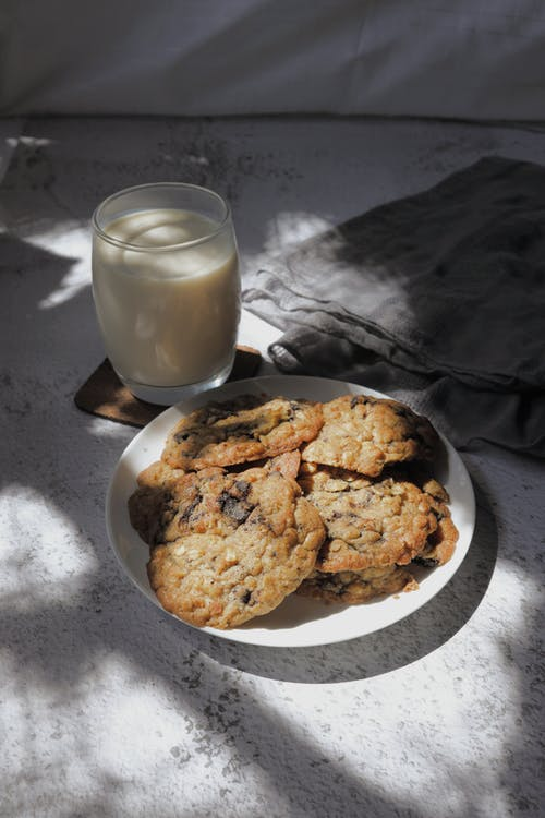 Cookies on a Plate and a Glass of Milk