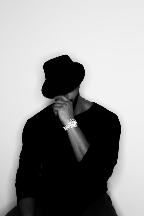 Man in Black Hat and Long Sleeves Shirt