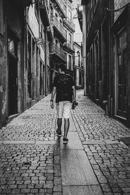 Free stock photo of black and white portrait, black and white street, moody