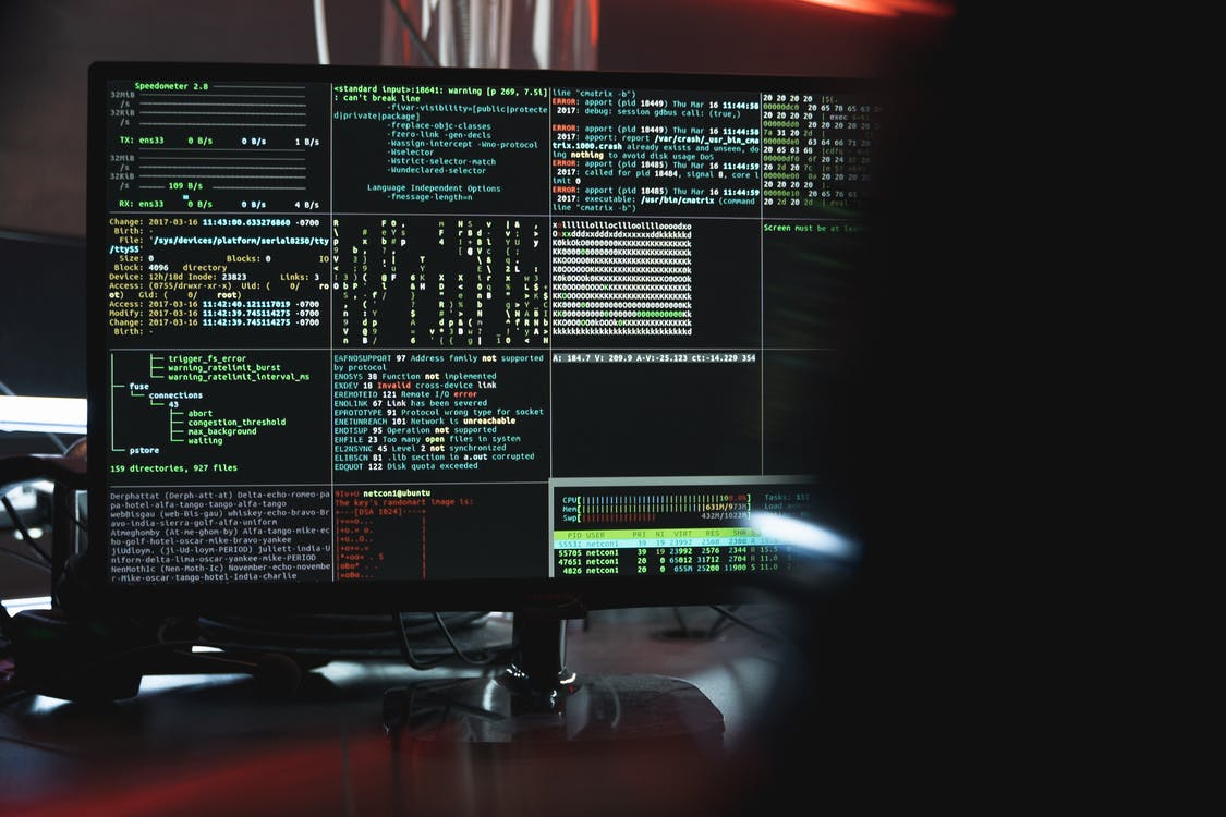 Close-Up View of System Hacking in a Monitor