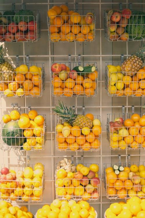 Assorted Fruits on a Shelf