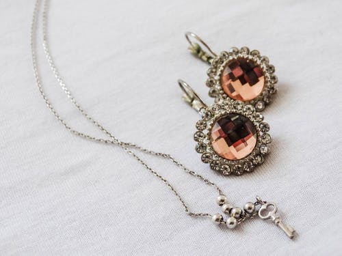Close-Up View of Necklace and Earrings