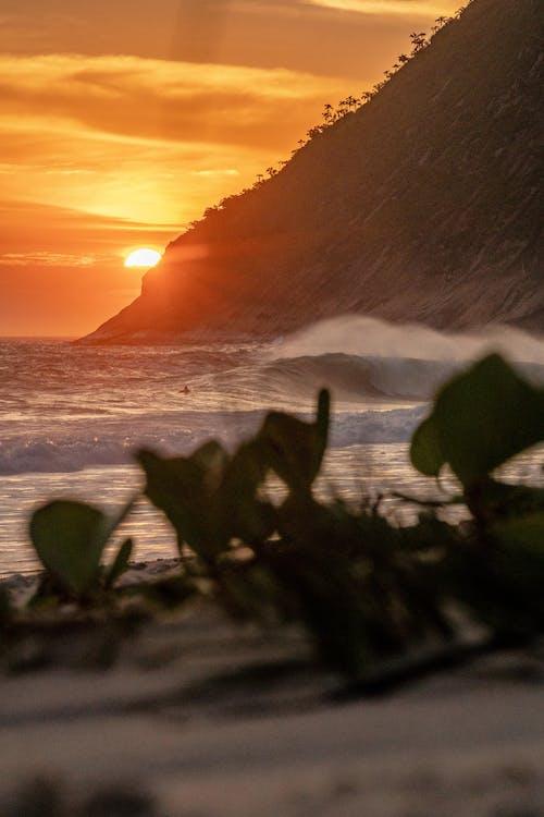 Sea Waves Crashing on the Seashore during Sunset
