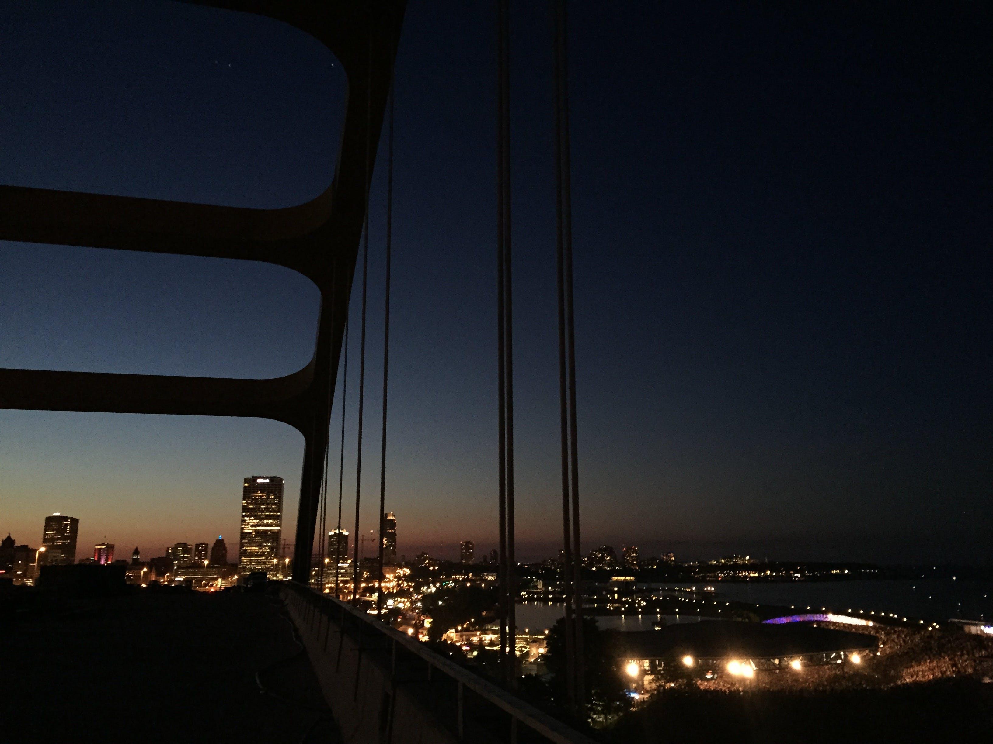 ampitheatre, city, city night