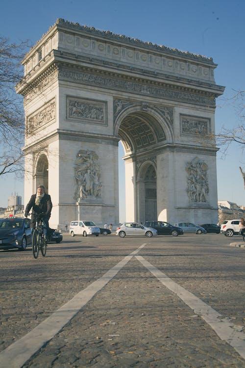Vehicles Driving near the Famous Arc de Triomphe