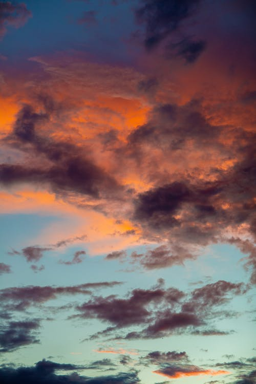 Cloudy colorful sunset in evening time