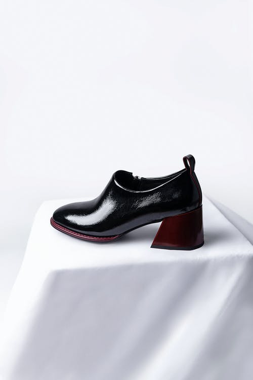 Black and Red Leather Peep Toe Heeled Shoe