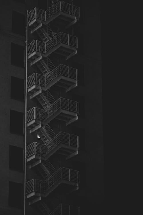 Grayscale Photo of an Fire Escape