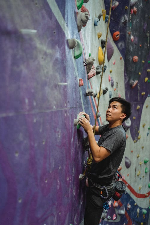 Side view of determined male climber in sportswear ascending on climbing wall in gym and looking up