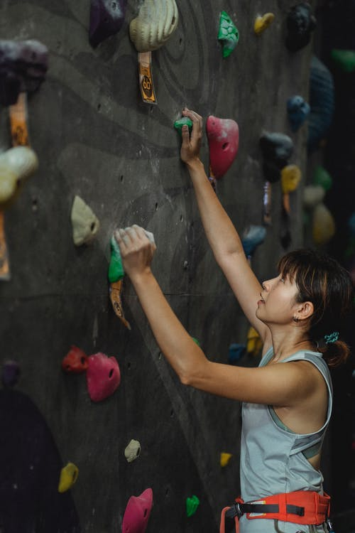 Side view of strong Asian female mountaineer with belay in sportswear climbing wall with colorful holds during training in gym